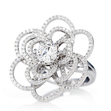 307240 - Diamonique 2.6ct tw Flower Ring Sterling Silver