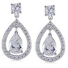 Michelle Mone for Diamonique 5.7ct tw Pear Cut Halo Earrings Sterling Silver
