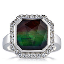 Canadian Ammolite Triplet Faceted Octagonal Ring w/ White Topaz Sterling Silver