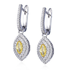 Michelle Mone for Diamonique 1.72ct tw Marquise Drop Earrings Sterling Silver