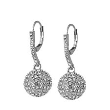 Loverocks Crystal Pave Ball Leverback Earrings