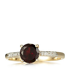 1.2ct Garnet & Diamond Accent Solitaire Ring 9ct Gold