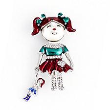 Butler & Wilson Pearl Doll Crystal & Enamel Brooch