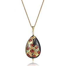 Murano Glass Millerose Tear Drop Pendant & 80cm Chain Sterling Silver