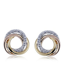 Diamonique 0.1ct tw Love Knot Stud Earrings Sterling Silver