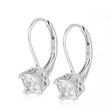 306741 - Platinum Plated Diamonique 2ct tw Asscher Cut Earrings Sterling Silver