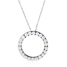 Honora 3-4mm Cultured Round Pearl Circle Necklace Sterling Silver