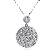 307241 - Diamonique 2ct tw Double Disc Pendant & 45cm Chain Sterling Silver