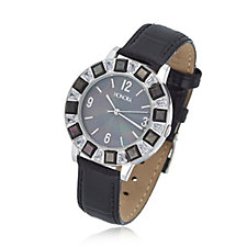 Honora White Topaz Baguette Cut & Mother of Pearl Bezel Watch