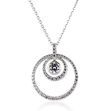 Michelle Mone for Diamonique 1.3ct tw Circle Pendant & Chain Sterling Silver