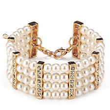 Frank Usher Simulated Pearl & Crystal Flexible Bracelet