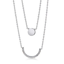 Diamonique 0.19ct tw Double Layer 50cm Necklace Sterling Silver