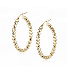 9ct Gold Beaded Creole Hoop Earrings