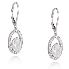 Diamonique 3ct tw Floating Stone Leverback Earrings Sterling Silver