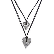 Frank Usher Double Heart Drop 104cm Necklace
