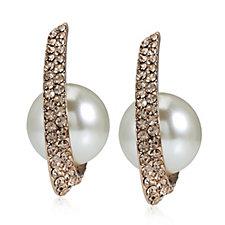 305342 - Frank Usher Suspended Faux Pearl Crystal Hoop Earrings