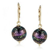 Murano Glass After Dark Orb Earrings Sterling Silver