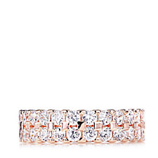 Diamonique 2.5ct tw Double Row Full Eternity Ring Sterling Silver