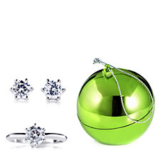 Diamonique 3ct tw Earrings & Ring Set in a Bauble Sterling Silver
