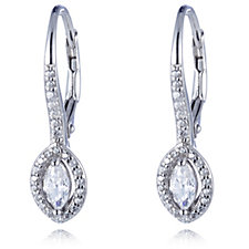 Diamonique 0.8ct tw Marquise Pave Leverback Earrings Sterling Silver