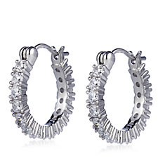 Diamonique 2ct tw Mini Huggie Hoop Earrings Sterling Silver