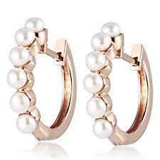 Honora 3.5-4mm Button Cultured Fresh Water Pearl Hoop Earrings Bronze
