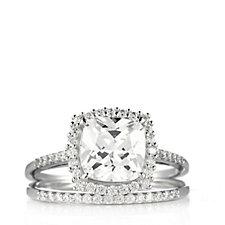 Diamonique 2.9ct tw Cushion & Eternity Ring Set Sterling Silver