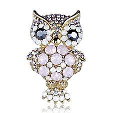 Butler & Wilson Various Crystals Owl Brooch