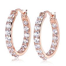Diamonique 2.2ct tw Round Cut Hoop Earrings Sterling Silver
