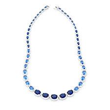 Elizabeth Taylor Graduated Simulated Sapphire & Diamond 46cm Necklace