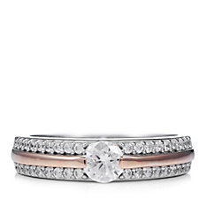 Diamonique by Andrea Mclean 0.8ct tw Pave Band Ring Sterling Silver