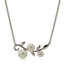 Honora Cultured Pearl Leaf Design 45cm Necklace Sterling Silver