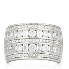 Diamonique by Tova 2.6ct tw Mixed Cut Wide Band Ring Sterling Silver