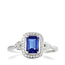 1.25ct AAA Tanzanite 0.15ct Diamond Octagon Ring 14ct Gold
