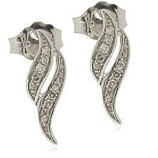 0.08ct Diamond Set Flame Stud Earrings 9ct Gold