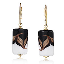 Murano Glass Peacock Drop Earrings Sterling Silver