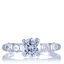 Diamonique 2.1ct tw Round Cut Solitaire 5 Stone Ring Sterling Silver