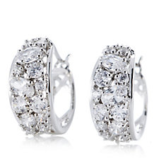 Michelle Mone for Diamonique 2.2ct tw Mixed Cut Huggie Earrings Sterling Silver