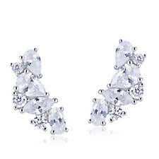 Diamonique 2.7ct tw Mixed Cut Earclimbers Sterling Silver