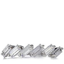 Diamonique 1ct tw Baguette Cut Half Eternity Ring Sterling Silver