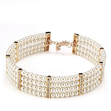 Frank Usher Simulated Pearl & Crystal Flexible Choker