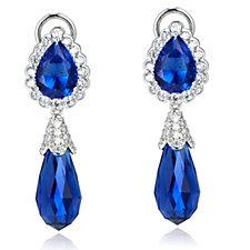 Elizabeth Taylor Simulated Sapphire & Diamond Drop Clip On Earrings