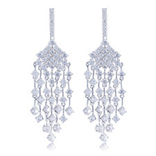Diamonique 4ct tw Chandelier Drop Earrings Sterling Silver