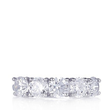 Diamonique 2.5ct tw 5 Stone Eternity Ring Sterling Silver