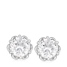Platinum Plated Diamonique 3ct tw Stud Earrings Sterling Silver