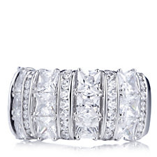 Diamonique 6.8ct tw Statement Band Ring Sterling Silver