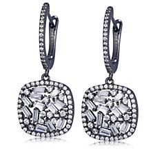 307645 - Diamonique Couture 2.4ct tw Baguette Cut Drop Earrings Sterling Silver