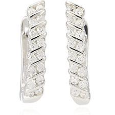 Diamonique 0.3ct tw Oval Hoop Earrings Sterling Silver