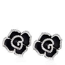 Frank Usher Crystal Rose Clip On Earrings