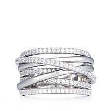 Diamonique Couture 1.3ct tw Wrap Band Ring Sterling Silver